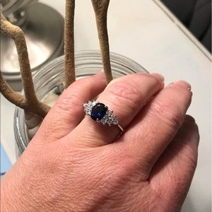 Sterling Silver 925 CZ and Sapphire Ring